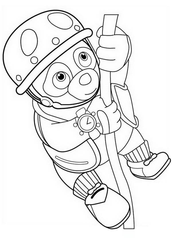 Special Agent Oso Hanging On Rope Coloring Page Download