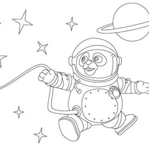 Special Agent Oso As An Astronout Coloring Page