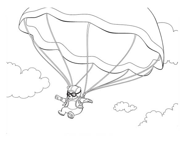 Special Agent Oso On Parachute Coloring Page