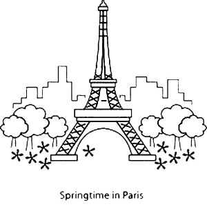 Springtime In Paris With Eiffel Tower Coloring Page