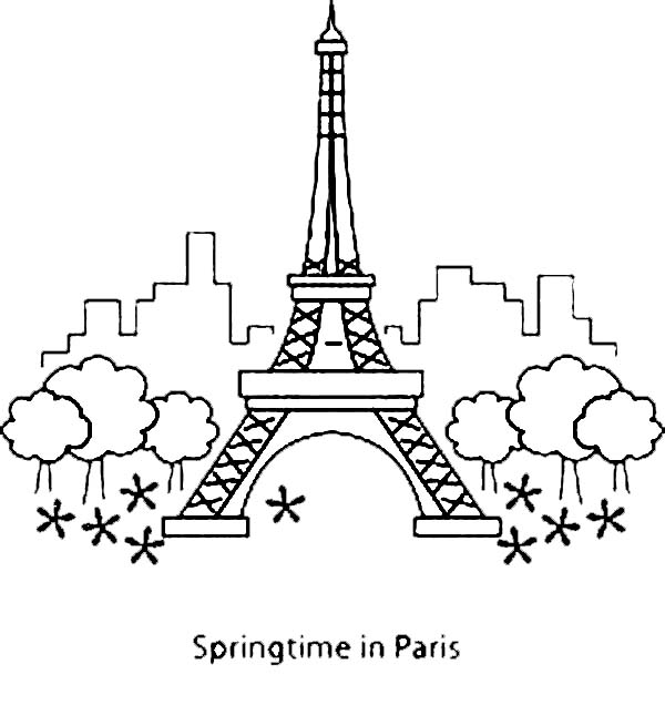 Springtime In Paris With Eiffel Tower Coloring Page - Download ...