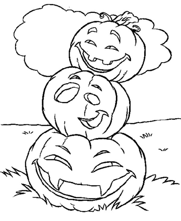Stacking Halloween Pumpkins Coloring Page - Download ...