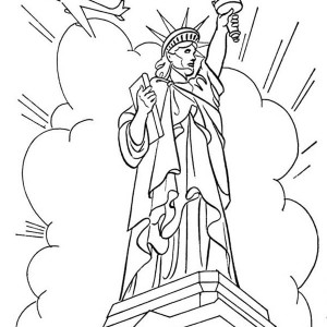 Statue Of Liberty In Front Of Cloud And Air Force One Coloring Page