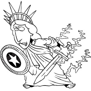 Statue Of Liberty With Shield And Sword Coloring Page