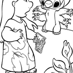 Stitch Broke Lilo Family Photo In Lilo & Stitch Coloring Page