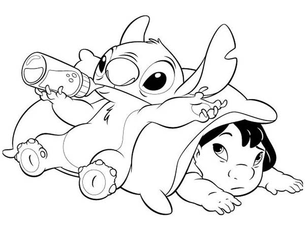 Stitch Drinking Milk In Lilo Stitch Coloring Page Download