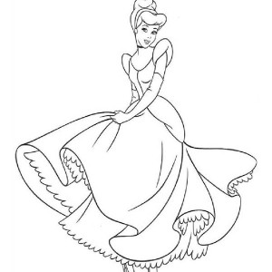 Stunning Cinderella's Silver Blue Dress In Cinderella Coloring Page