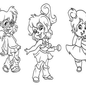 The Chipettes Posing Coloring Page