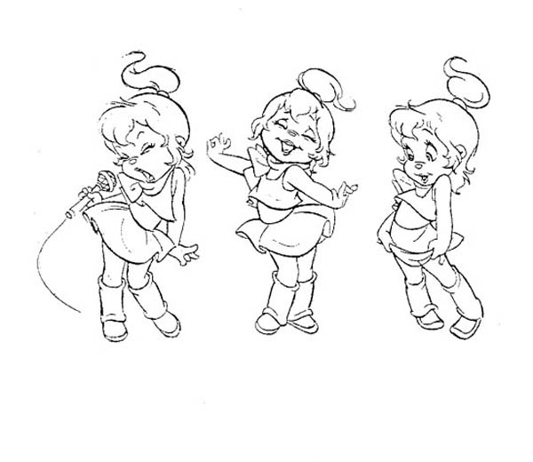 The Chipettes Singing and Dancing Coloring Page Download
