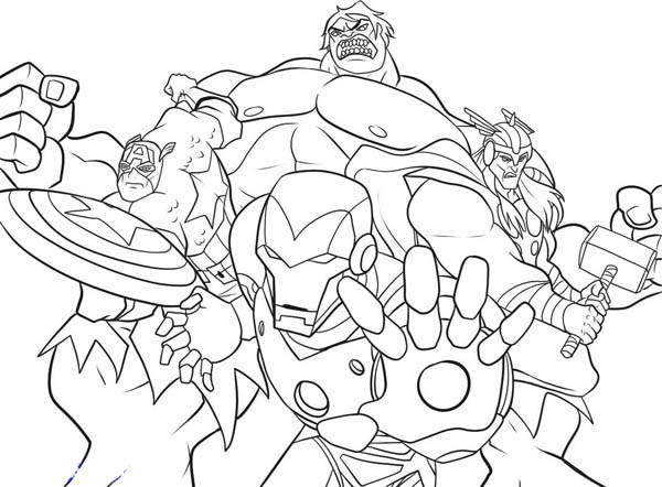 The Heroic Avengers Coloring Page - Download & Print Online Coloring ...