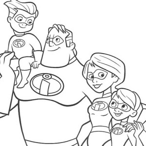 The Incredibles Family Coloring Page