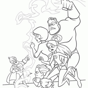 The Incredibles Family Held By Syndrome Coloring Page