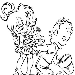 Theodore Give Flower To Brittany The Chipettes Coloring Page