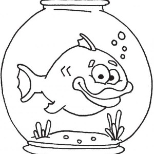 Thick Lip Fish In Fish Bowl Coloring Page