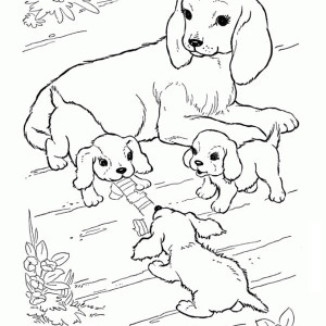 This Dog Is Watching Over Her Puppies Coloring Page
