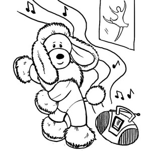 This Funny Dog Learn To Dance Coloring Page