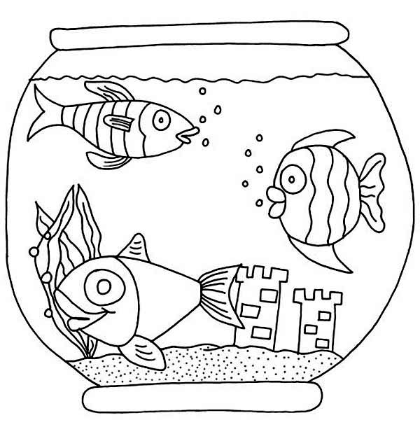Three Fish With Castle In Fish Bowl Coloring Page Download Print