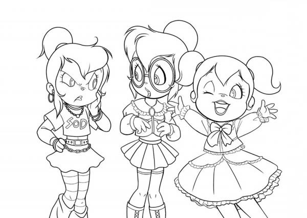 Three Happy Chipettes Coloring Page Download Print Online