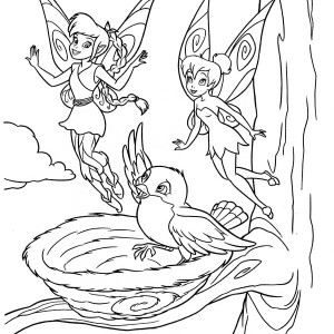 Tinkerbell And Fawn Say Goodbye To A Bird In Disney Fairies Coloring Page