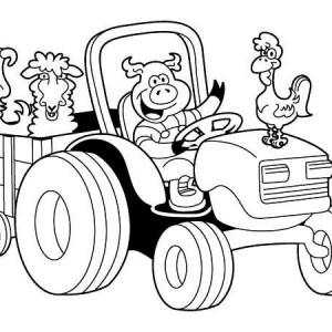 Tractor Carrying Chicken, Pig, Lamb And Dog Coloring Page
