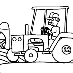 Tractor, Farm And Barn Coloring Page