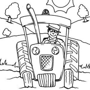 Tractor Plowing Coloring Page