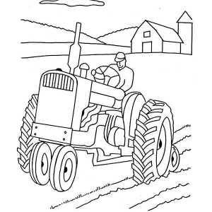 Tractor Plowing Farm Coloring Page