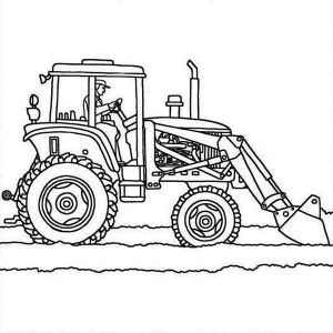 Tractor Plows Coloring Page