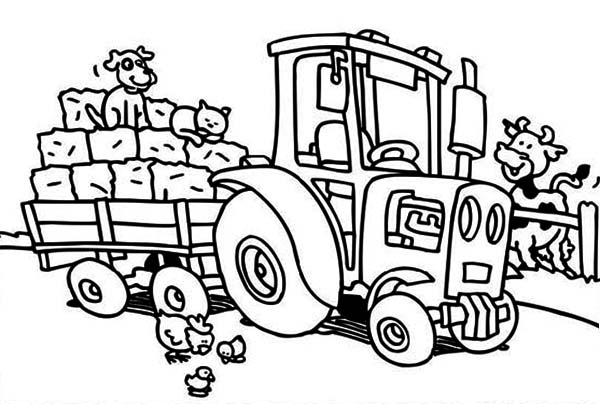 Tractor Take Away Crops Coloring Page - Download & Print Online ...