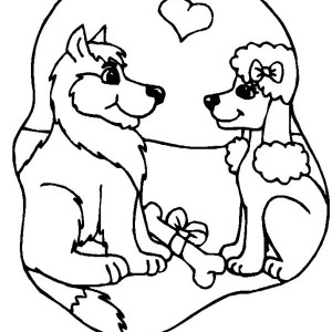 Two Dogs Are In Loved Coloring Page