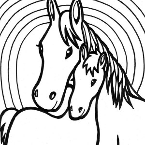 Two Horses Mating Coloring Page