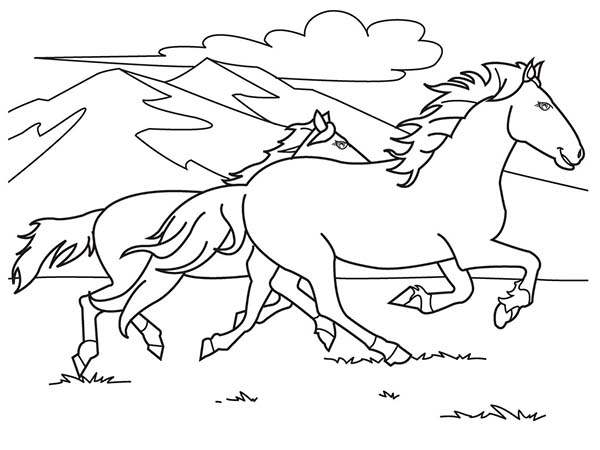 Two Horses Running On The Hill Coloring Page