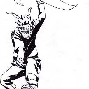 Uzumaki Naruto Attack With Big Shuriken Coloring Page