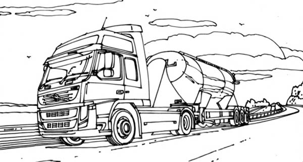 VTN Semi Truck On The Road Coloring Page Download