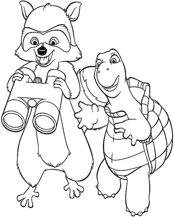 verne with rj the raccoon found a binocular coloring page