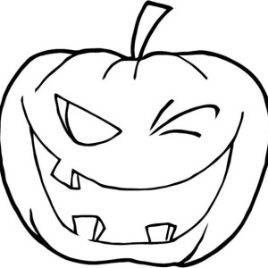 Winking Halloween Pumpkins Coloring Page