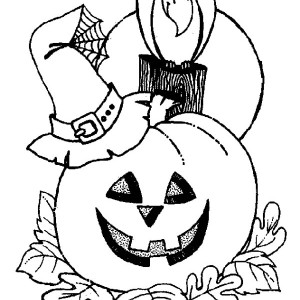 Witch Hat And Crow And Pumpkins Coloring Page
