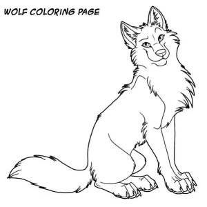 Wolf Is Sitting Down Coloring Page