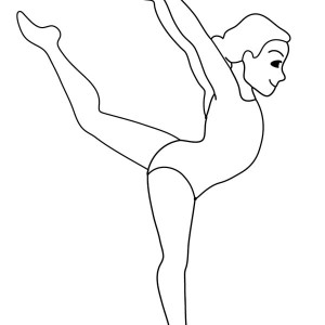 Woman Gymnastic Coloring Page