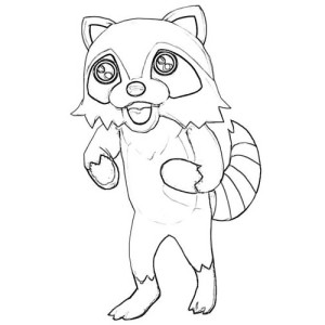 Zombie Raccoon Coloring Page