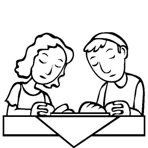 A Devoted Couple Making Pray During Passover Coloring Page