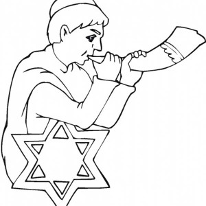 A Little Kid Blow Shofar In Rosh Hashanah Coloring Page