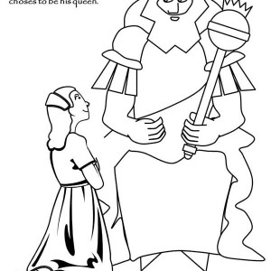 Ahasuerus And Esther Meet In Purim Coloring Page