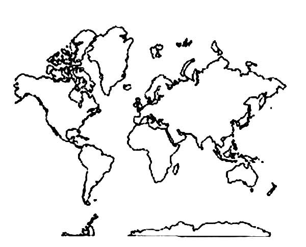 All Around World Map Coloring Page Download Print Online