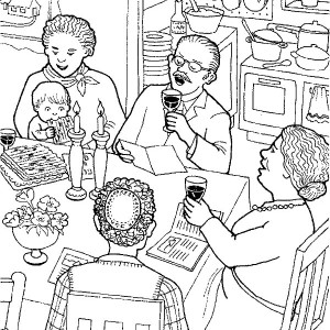 All Family Gathered To Celebrate Passover Coloring Page