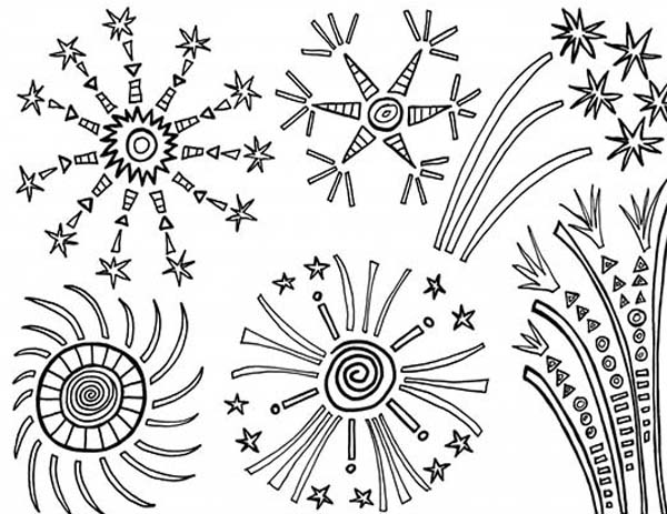 Amazing 4th Of July Fireworks Coloring Page Download Print