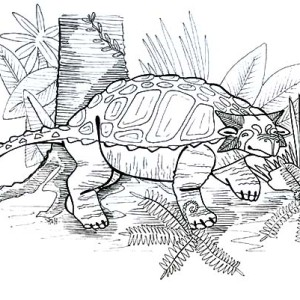Ankylosaurus Under The Tree Coloring Page