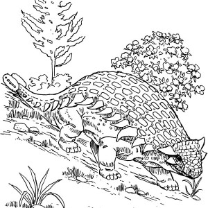 Ankylosaurus Walking Down The Hill Coloring Page