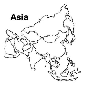 Asia Continent In World Map Coloring Page