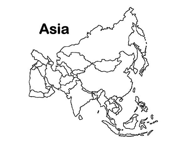 Asia Continent In World Map Coloring Page Download Print Online